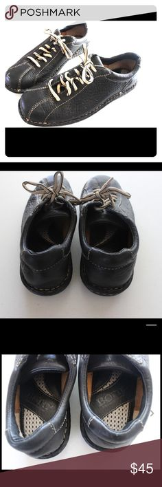 💟New Listing💟 Born sz 7.5 Leather Sneakers Born Shoes  Size 7 1/2  Excellent Condition with no visible wear  Black with Beige stitching and laces Born Shoes Sneakers