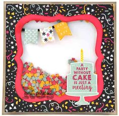 Birthday shaker card using Stampin Up Party Wishes Stamp Set and It' My Party DSP. By Ros Davidson, Skye VIctoria