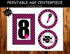 Rock Star Birthday Party, Rockstar Printable Party, Girl 1st Birthday, Printable Age Centerpieces, Tags, Pink and Black, Instant Download
