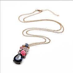 Elegant pink flower with blue crystal necklace New Jewelry Necklaces