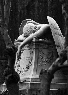 My guardian angel right now! - Angel of Grief is an 1894 sculpture by William Wetmore Story which serves as the grave stone of the artist and his wife at the Protestant Cemetery in Rome. Gray Aesthetic, Black And White Aesthetic, Aesthetic Vintage, Renaissance Kunst, Arte Obscura, Slytherin Aesthetic, Cemetery Art, Art And Architecture, Dark Art