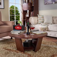 Round Cocktail Table Ottoman Solid Wood Coffee Tables Living Room