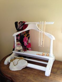 Gentleman's Wood Valet ~ Painted Creamy White & Distressed ~ Shabby Chic Jewelry…