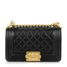 CHANEL Lambskin Quilted Small Boy Flap Black ❤ liked on Polyvore featuring bags, handbags, shoulder bag, lambskin leather handbags, quilted purses, flap handbags and quilted chain shoulder bag
