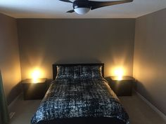 Master bedroom available for FEMALE Lambton College student. Queen bed and walk-in closet! Modern home has a gate opening to Lambton College and Walk To School, Ikea Bed, Rooms For Rent, Nightstands, Walk In Closet, Queen Beds, College Students, Ceiling Fan, Closer