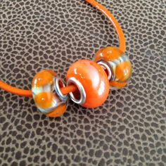 Orange necklace 17.50 inches 44.45 cm long Two by HappyLilac