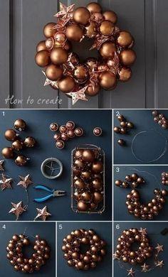 Preparando o Natal: Dicas e ideias de guirlanda de Natal Bauble Wreath, Christmas Ornament Wreath, Diy Wreath, Holiday Wreaths, Door Wreaths, Ornaments, Christmas Projects, Christmas Crafts, Christmas Decorations