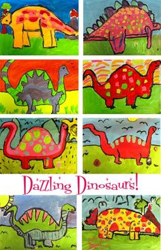 Deep Space Sparkle – Dinosaur Art Lesson Drawing a dinosaur takes center stage in this dinosaur art project. Students sit up and listen as all are eager to learn how to draw their favorite subject. Dinosaur Art Projects, Dinosaur Activities, Art Activities, Kindergarten Art Lessons, Art Lessons Elementary, Kindergarten Drawing, Art Lessons For Kids, First Grade Art, Second Grade