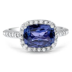 Horizontal Fancy Halo Sapphire and Diamond Ring, top view