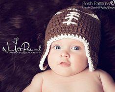 Crochet PATTERN - Baby Football Earflap Hat - Crochet Hat Pattern - Instant Download PDF 114 - Newborn to Adult - Photography Prop Pattern
