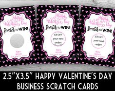 Happy VALENTINE'S Day SCRATCH OFF Cards - Hearts-Pink/Black, Direct Sales Inspired, Professional Printing,Business Stationery, Scratch Cards