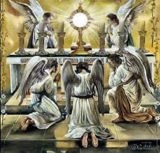 Angylion: Angels and all of Heaven are present at every mass to worship Jesus in the Eucharist. But our unbelief does not allow us to see. Catholic Art, Religious Art, Roman Catholic, Jesus Christus, I Believe In Angels, Religious Pictures, Divine Mercy, Angels In Heaven, Heavenly Angels