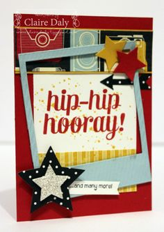 Stampin Up Bravo, Flashback DSP and Star Framelits for SB68. By Claire Daly, Stampin' Up! dem Melbourne Australia