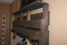 Wood Pallet Shelf with hooks  Reclaimed wood by southernbellesign
