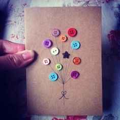 Handmade Greeting Card  Button Balloons by claireasdaisies on Etsy, £3.50