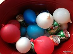 freeze red white and blue waterballoons for a festive and fun 4th of July