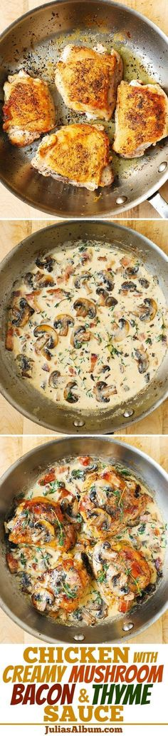 BAKED Chicken Thighs with Creamy Bacon and Mushroom Thyme Sauce. Easy, delicious! Easy weeknight chicken dinner!