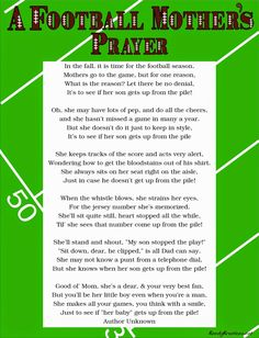 Kandy Kreations: A Football Mother's Prayer Poem Free Printable