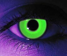 glow in the dark contact lenses. Available in regular or prescription form, these trippy contact lenses will glow a neon green color when exposed to a black light, making them ideal for raves and Halloween parties.