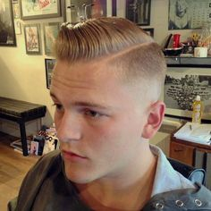 Pompadour with razor side part