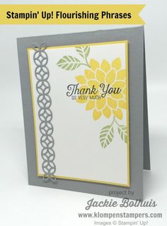 Simple card made using Stampin' Up! FLOURISHING PHRASES BUNDLE. All the details are on the blog! Created by Jackie Bolhuis, Stampin' Up! Demonstrator. 100's of StampinUp card ideas on blog.