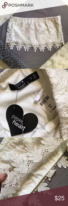 Paper Heart Cream Lace Bandeau Top NWT. Purchased at LF. There are two layers: the lace and the soft inner lace. It is an Australian size 10 which is equivalent to an American size 6 (a M). Perfect for a festival! In a beautiful cream color. LF Tops Crop Tops