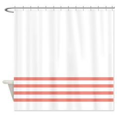 Striped Shower Curtain White With Coral Stripes OR Customize Colors Standard Extra Long Sizes Custom Preppy Home Decor Classy Bathroom