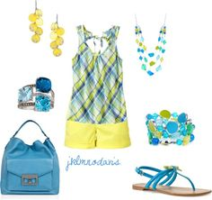 """Summer blue & yellow"" by jklmnodavis on Polyvore"