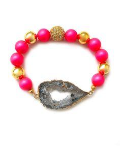 hot pink & druzy bracelet!