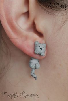 cute clay cat earings - Murphy's Laboratory - for all you cat lovers out there! www.hillsidevets.co.uk