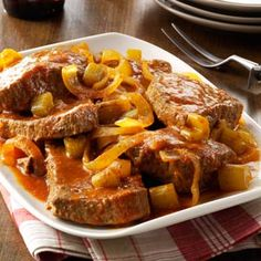 Slow-Cooked Swiss Steak Recipe from Taste of Home -- shared by Sarah Burks of Wathena, Kansas