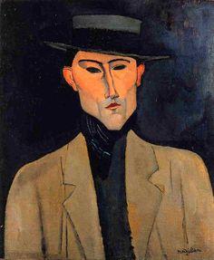 Portrait d'homme au chapeau (Jose Pacheco), par Amedeo Modigliani