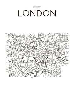 Poster London City Map Minimal Wall Art Black and White Scandinavian Design Artwork Typographic Gift Art Print