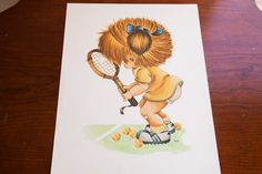 Vintage 70s Tennis Girl Kid Art