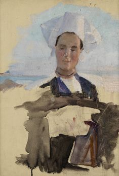 """""""Breton Woman and Other Studies,"""" Cecilia Beaux, 1888, oil on canvas, 15 x 10 5/8"""", Pennsylvania Academy of the Fine Arts."""