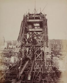 """Exhibition: 'Victorian London in Photographs 1839 to 1901' at the London Metropolitan Archives. """"This is a fascinating exhibition about the history of London portrayed through Victorian era photographs."""" http://artblart.com/2015/10/04/exhibition-victorian-london-in-photographs-1839-to-1901-at-the-london-metropolitan-archives/ Photo: Unknown photographer. 'Construction of Tower Bridge' 1892"""