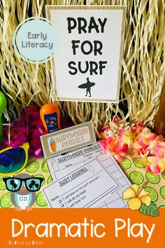 The beach dramatic play Surf Shop is open for surfboard rentals, bike rentals, and all your beach necessities. This summer theme dramatic play set will have your little learners beach shopping, registering for surf lessons, and more in the dramatic play center. Preschool, pre-k, and kindergarten children will love using their imaginations to visit the Surf Shack. The Surf Shop is a perfect addition to a beach theme, ocean theme or summer theme. Beach Theme Preschool, Preschool Themes, Literacy Activities, Summer Activities, Ocean Themes, Beach Themes, Ice Cream Theme, Dramatic Play Centers, Inspired Learning