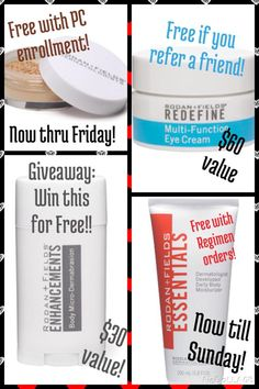 FREE: Multi-Function eye cream for all referrals! FREE: Mineral Peptides for all new Preferred Customer (PC) Enrollment thru Friday! FREE: Body Moisturizer with regimen orders through Sunday! FREE: chance to win Body Microdermabrasion for all PC orders in August. Every product has a 60-day money back guarantee...PC orders get Free shipping & 10% off retail prices! What's holding you back?!? Get started today so you can get some free stuff!