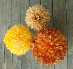 Autumn Poms / Ombre Goldenrod Yellow Tan / Fall by HandDyedPoms