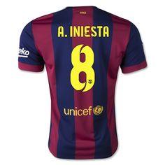 Camiseta FC Barcelona Local 14/15 A.INIESTA#8 *Envío Gratis!  * Facebook: MundoFutbol
