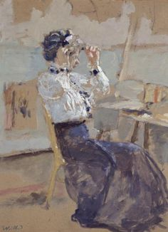 Edouard Vuillard, French, 1868–1940. Young Woman Trying on a Hat, c. 1900. Oil on cardboard, 16 x 12 in, 40.64 x 30.48 cm.