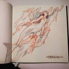 Almost jumps off he page . Almost jumps off he page . Mermaid Drawings, Mermaid Art, Mermaid Sketch, Mythological Creatures, Fantasy Creatures, Fantasy Kunst, Fantasy Art, Art Sketches, Art Drawings