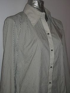 Classic Button Down Shirt by The Limited - Sz L - Gray Pinstripe