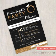 Gold, black & white bachelorette invite, Bachelorette party printable invitation, Hens party, gatsby bachelorette invite, Bachelorette Bash, printable invite Complimentary edits: Im happy to edit the wording, or the white accent color for you! ( Made-to-match insert card available - https://www.etsy.com/listing/217657541/hen-party-invitation-printable ) Tell me more: This is a 5 by 7 Printable invite (JPG or PDF) PROCESS *Turn-around time for 1st proof is 1-2...