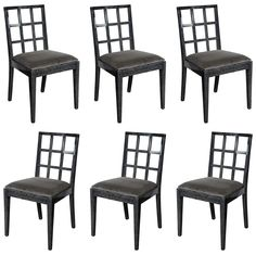 a lovely Set of Modernist Silver Cerused Oak Dining Chairs by Eugene Schoen