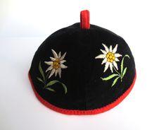 Vintage Tyrolean Childs Embroidered Edelweiss Cap Black Velvet Red Felt 1950s Jackpot Jen by JackpotJen on Etsy