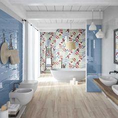 Bright colours breathe life into a bathroom