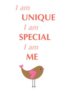 Autumn Bird Kid's affirmations I am Unique for by LaLaLaDesigns