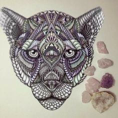 Drawings by Faye Halliday Doodles Zentangles, Ink Doodles, Time Tattoos, Cool Tattoos, Amazing Tattoos, Tatoos, Animal Drawings, Art Drawings, Mandala Tattoo