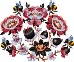klaus haapaniemi illustration - with bumblebees! Motif Floral, Graphic Design Posters, Grafik Design, Book Illustration, Vintage Images, Illustrations Posters, Folk Art, Print Patterns, Art Decor